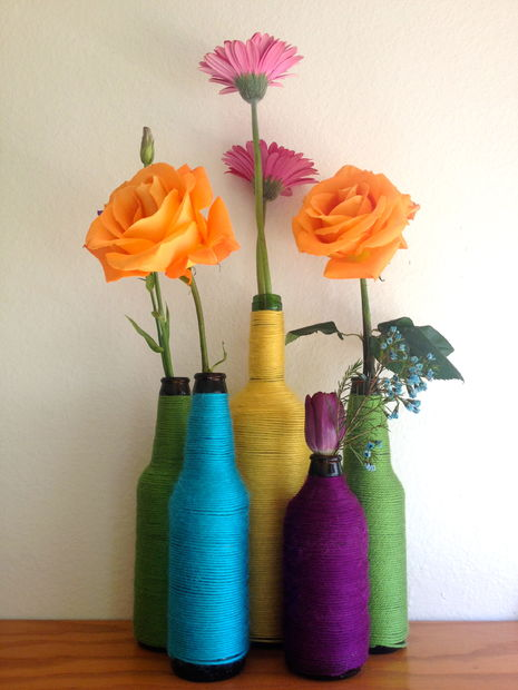DIY  One of a kind vase with old beer bottles