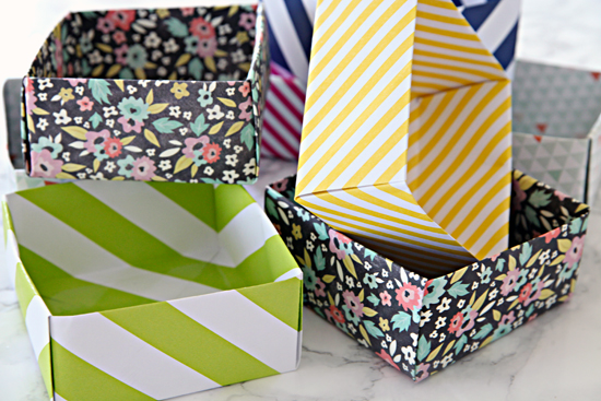 How to make organizer baskets from old cardboard boxes with scrap paper and Fevikwik