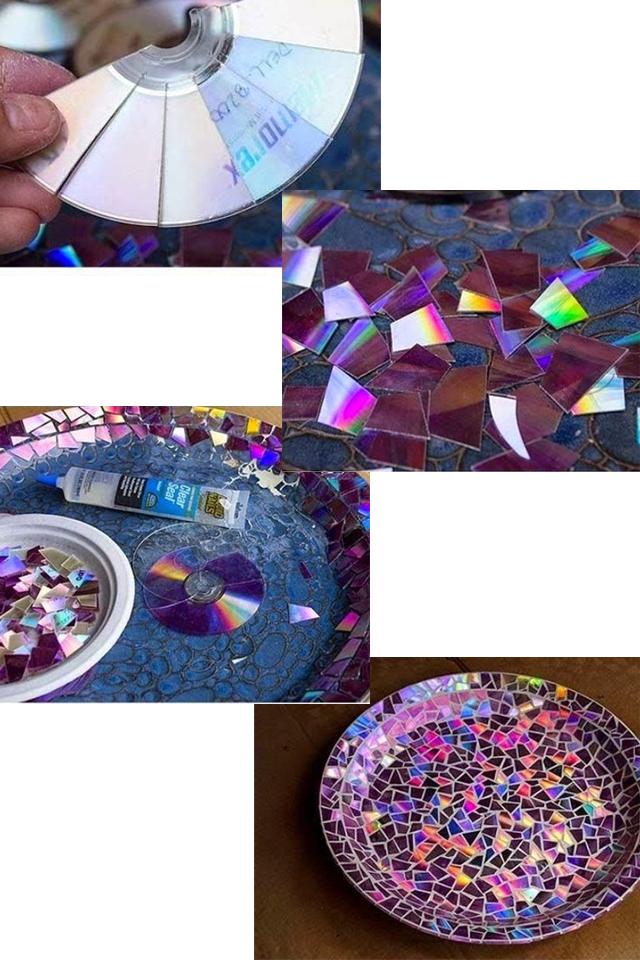 Recycle broken CDs for a Bird Bath
